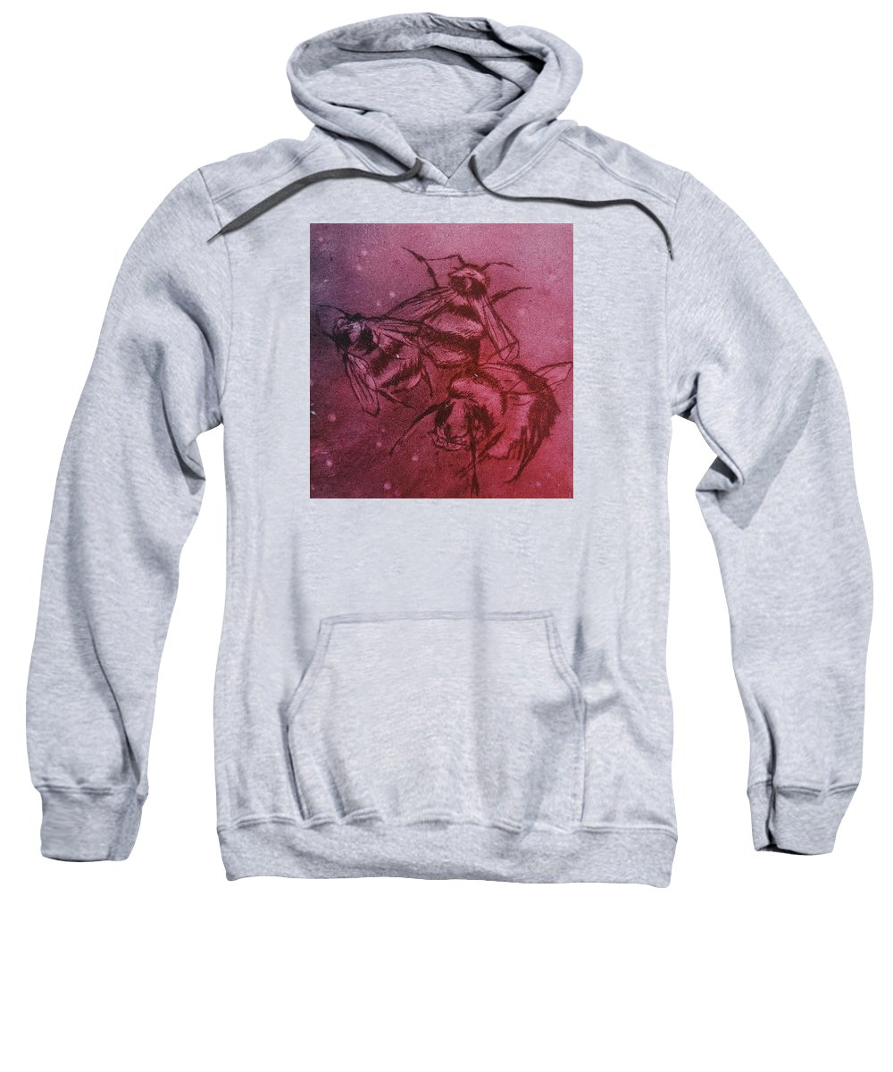 Drypoint Etching Bees Pink Purple Sweatshirt featuring the drawing Bijen by Sylvie Boersma