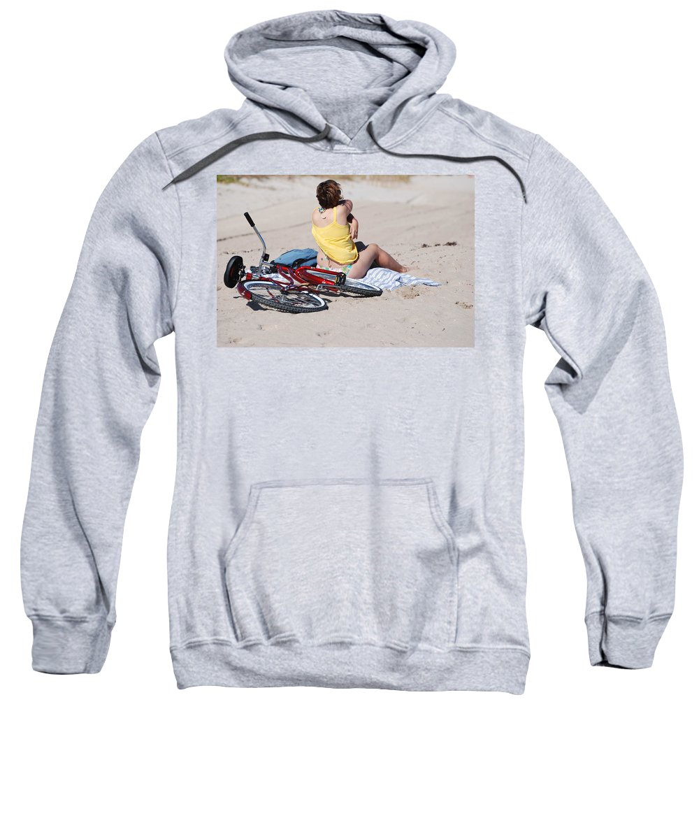 Red Sweatshirt featuring the photograph Bike On The Beach by Rob Hans