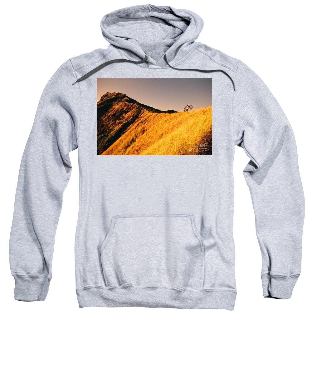 Athletic Sports Art Sweatshirt featuring the photograph Biker On The Ridge by Dana Edmunds - Printscapes