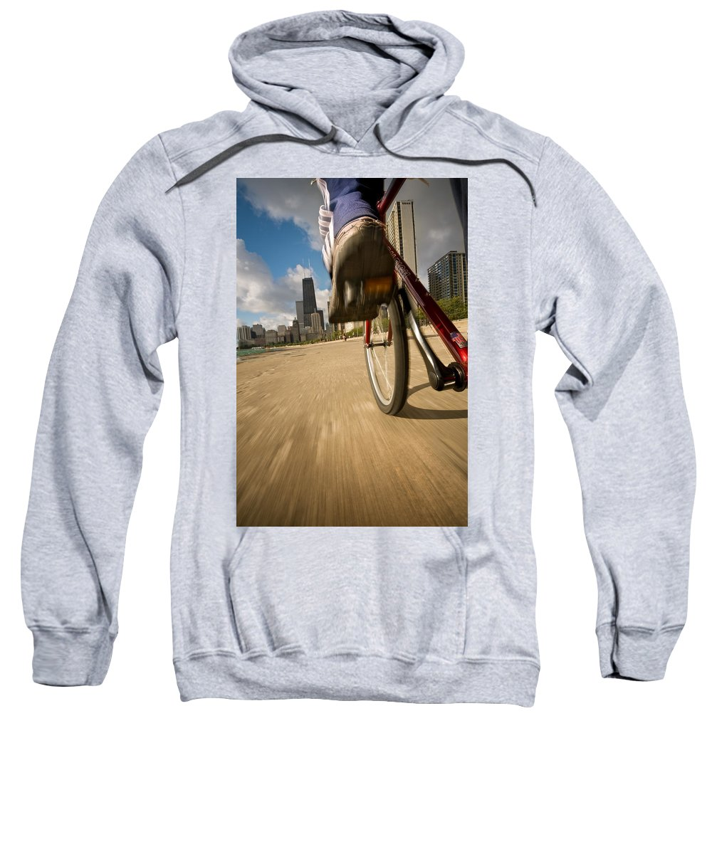 Active Sweatshirt featuring the photograph Biking Chicagos Lakefront by Steve Gadomski