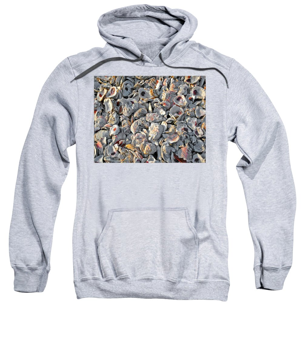 Shrimp Boat Sweatshirt featuring the painting Billys Oyster Shells by Michael Thomas