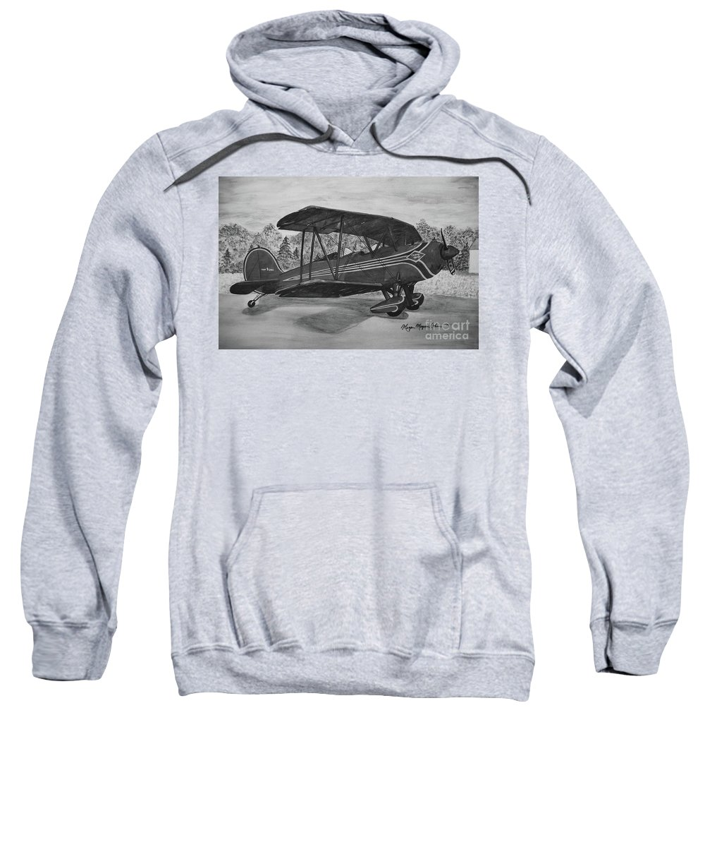 Biplane Sweatshirt featuring the painting Biplane In Black And White by Megan Cohen