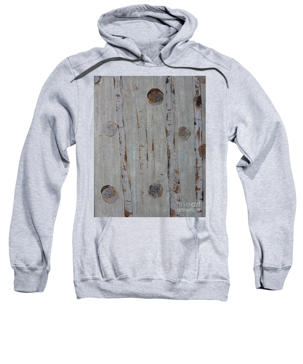 Land Sweatshirt featuring the painting Birch - Fog 2 by Jacqueline Athmann