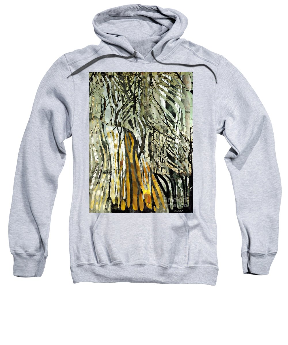 Birch Trees Sweatshirt featuring the mixed media Birch Forest by Sarah Loft