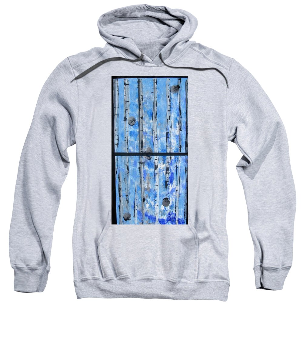 Land Sweatshirt featuring the painting Birch Trees - Blue by Jacqueline Athmann