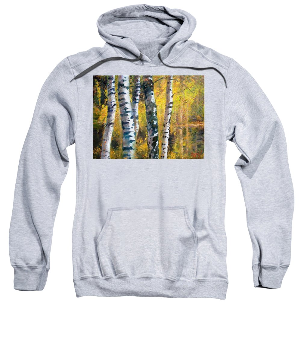 Landscape Sweatshirt featuring the painting Birch Trees In Golden Fall by Ylli Haruni