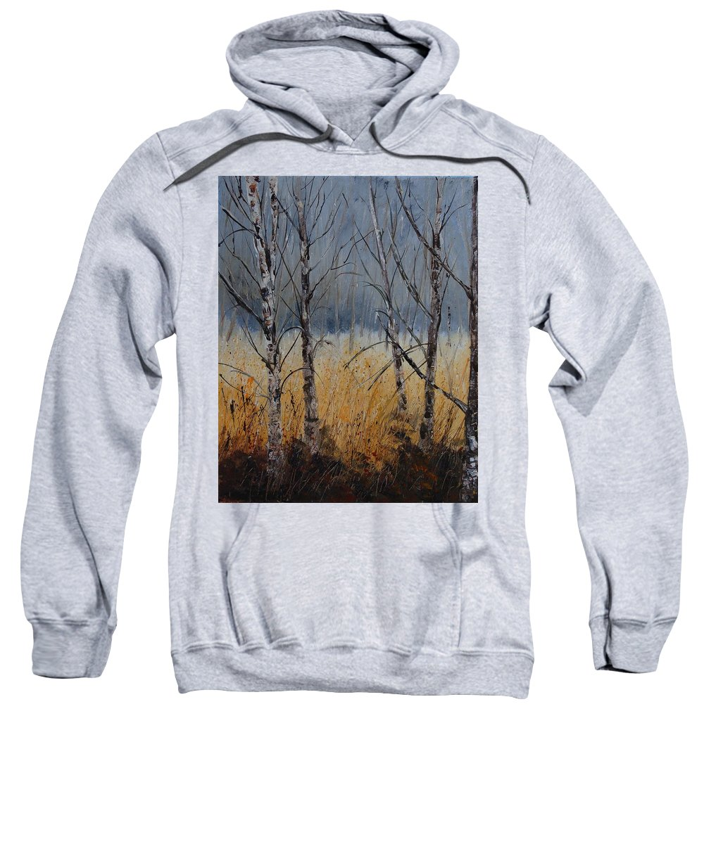 Winter Sweatshirt featuring the painting Birch Trees by Pol Ledent