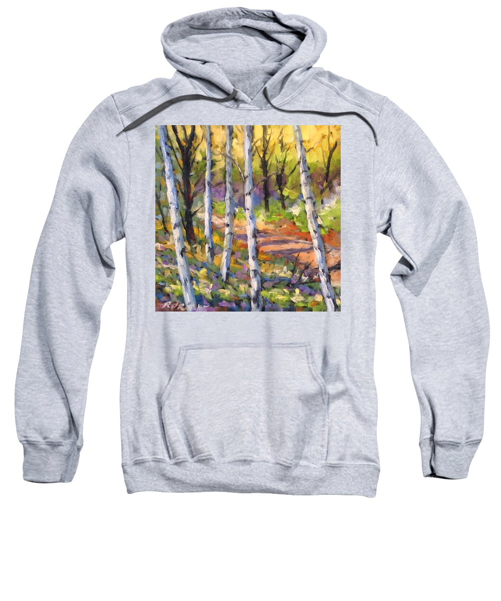 Art Sweatshirt featuring the painting Birches 02 by Richard T Pranke