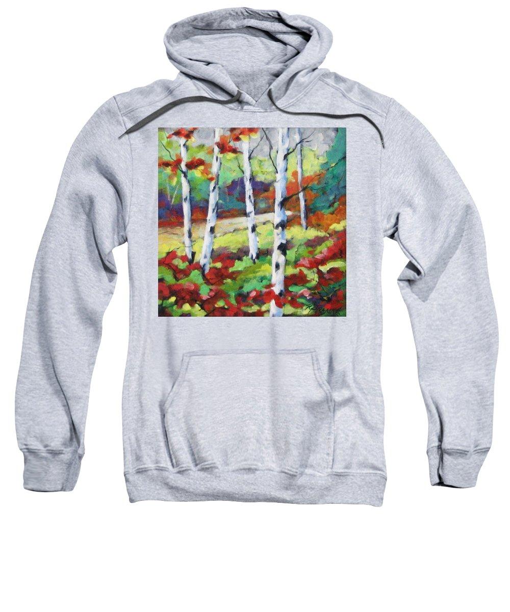 Art Sweatshirt featuring the painting Birches 07 by Richard T Pranke