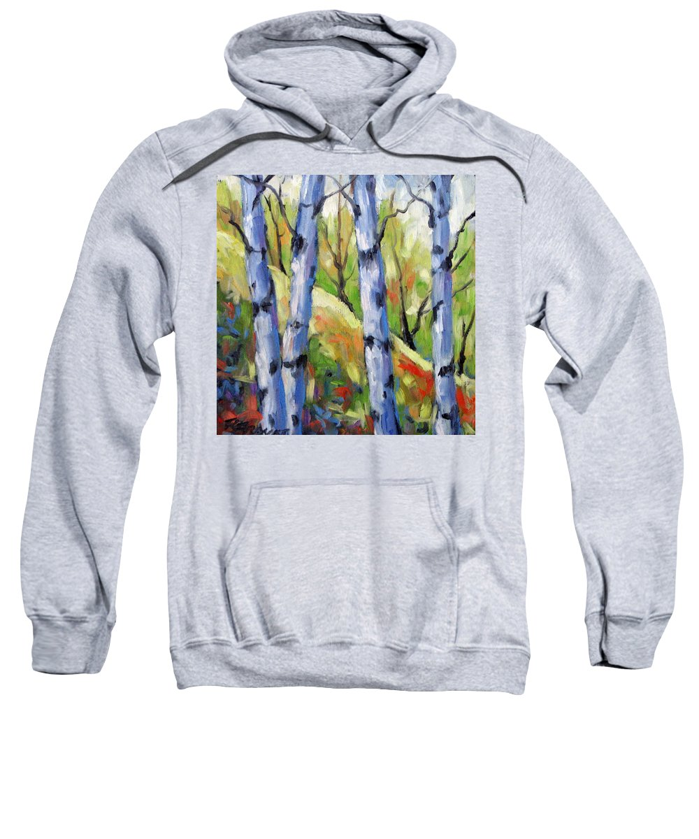 Art Sweatshirt featuring the painting Birches 09 by Richard T Pranke
