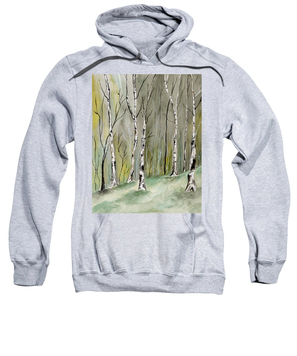 Landscape Sweatshirt featuring the painting Birches Before Spring by Brenda Owen