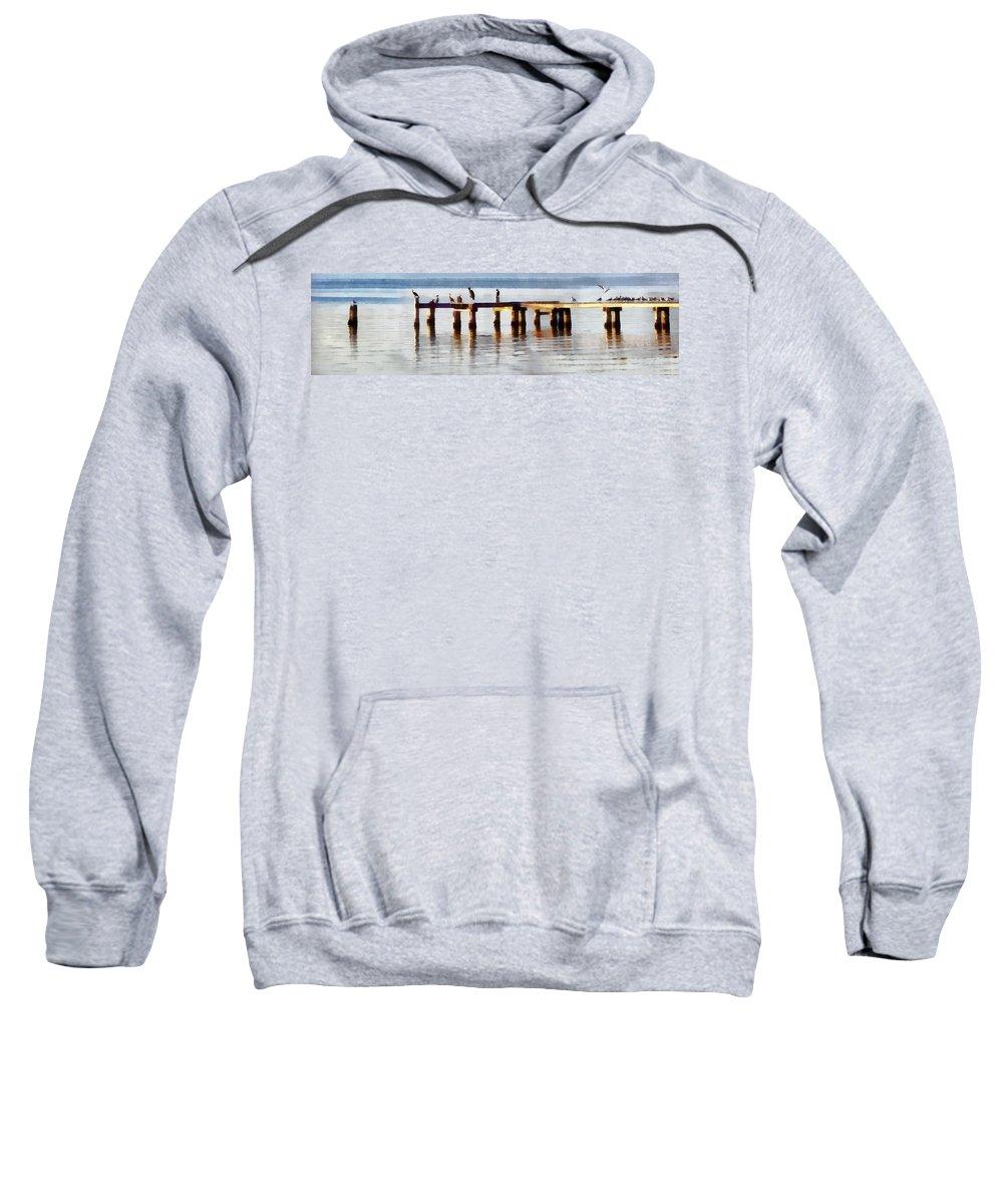 Sunset Sweatshirt featuring the digital art Bird Dock At Sunset by Francesa Miller