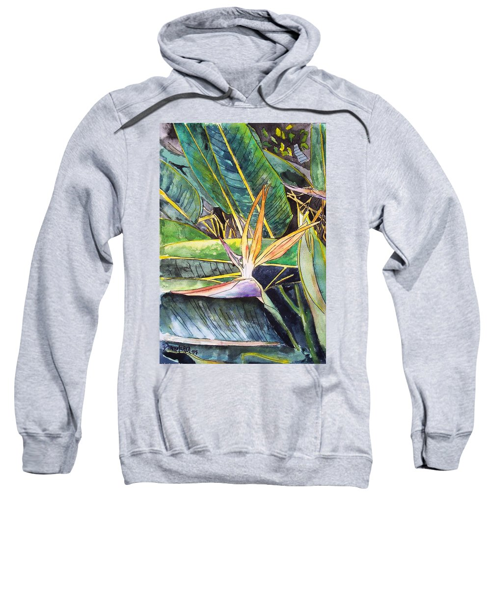 Watercolor Sweatshirt featuring the painting Bird Of Paradise by Derek Mccrea