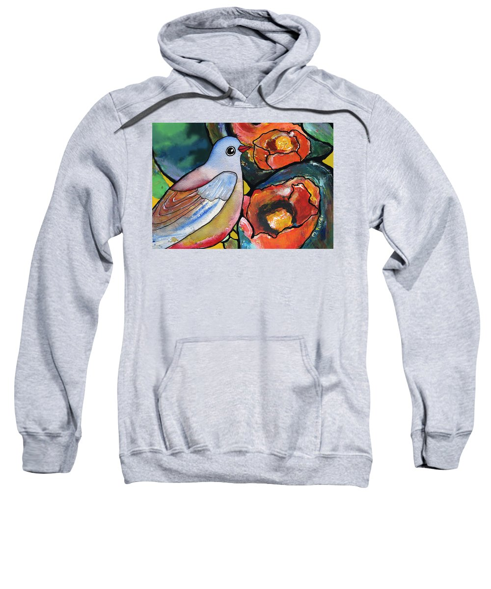 Bird Sweatshirt featuring the painting Bird With Prickly Pear Cactus Flowers by Maggie Turner