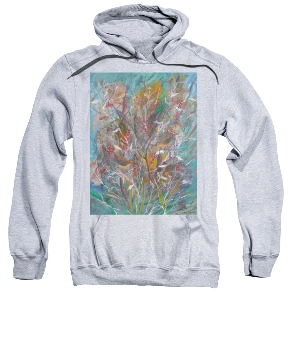 Birds Sweatshirt featuring the painting Birds In A Bush by Ben Kiger