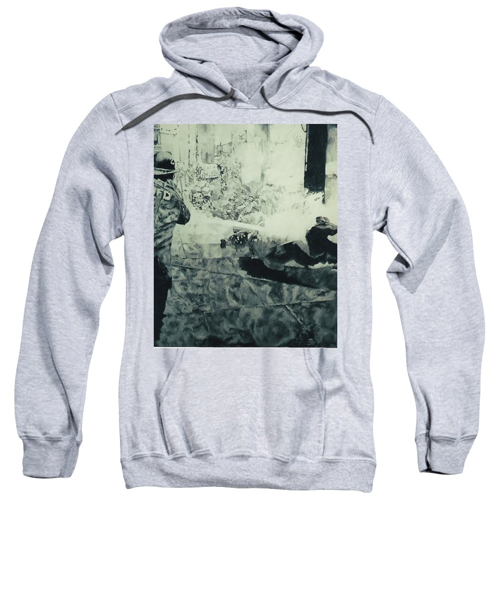 Civil Rights Movement Sweatshirt featuring the painting Birmingham Fire Department Sprays Protestor With High Pressure Water Hoses 1963 by Lauren Luna