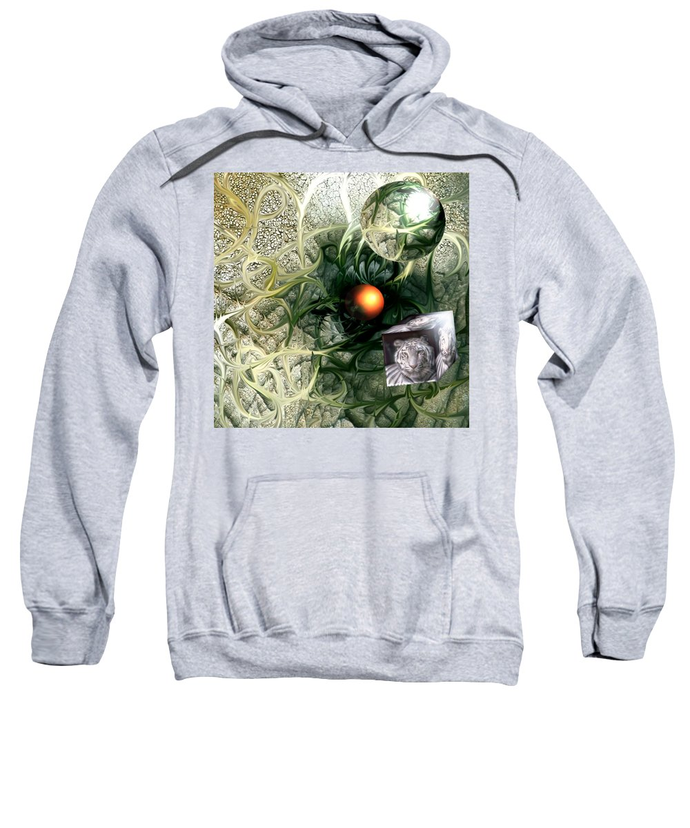 Abstract Nature Red Birth Tiger Spheres Wire Sweatshirt featuring the digital art Birth by Veronica Jackson