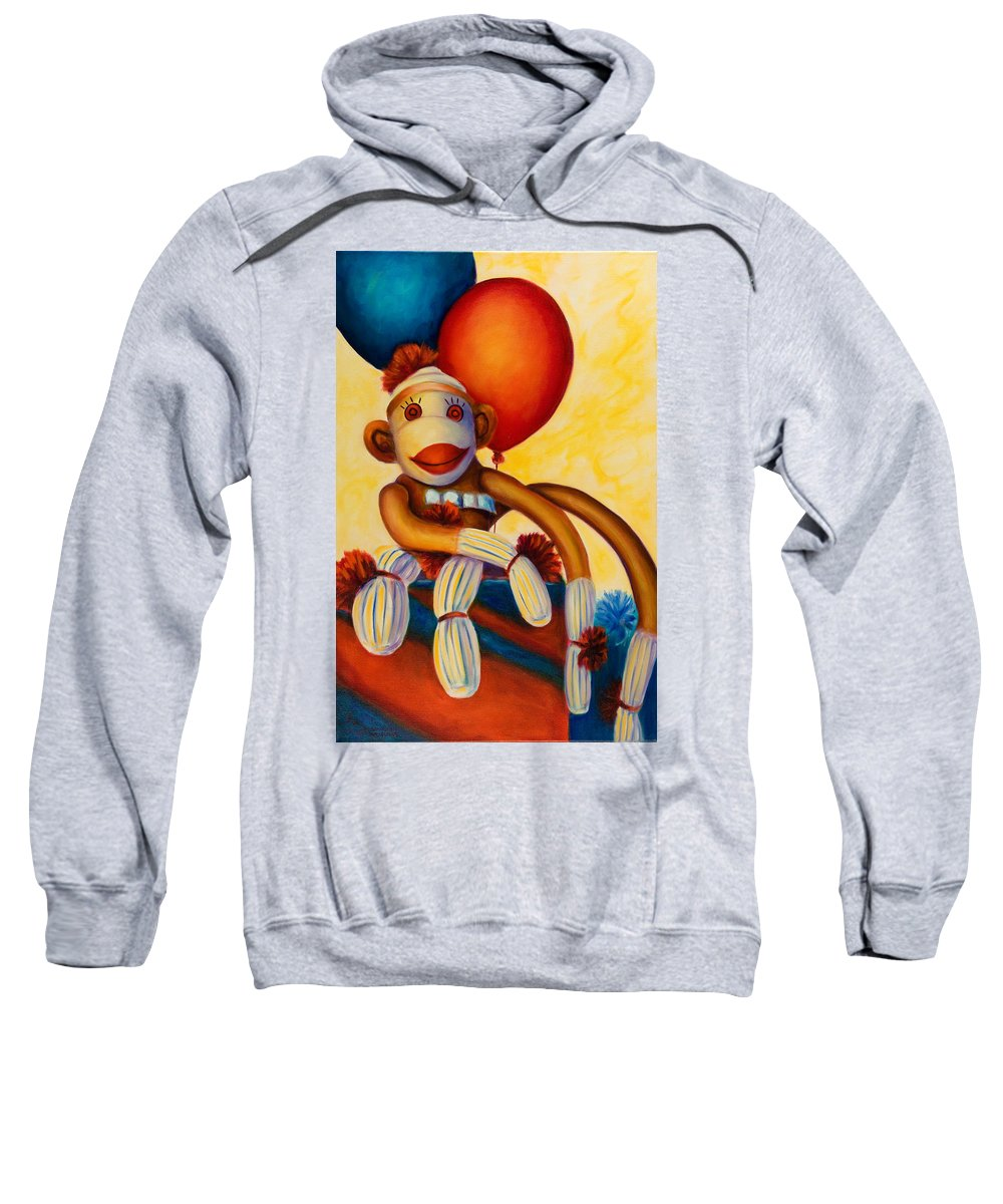 Sock Monkey Brown Sweatshirt featuring the painting Birthday Made Of Sockies by Shannon Grissom