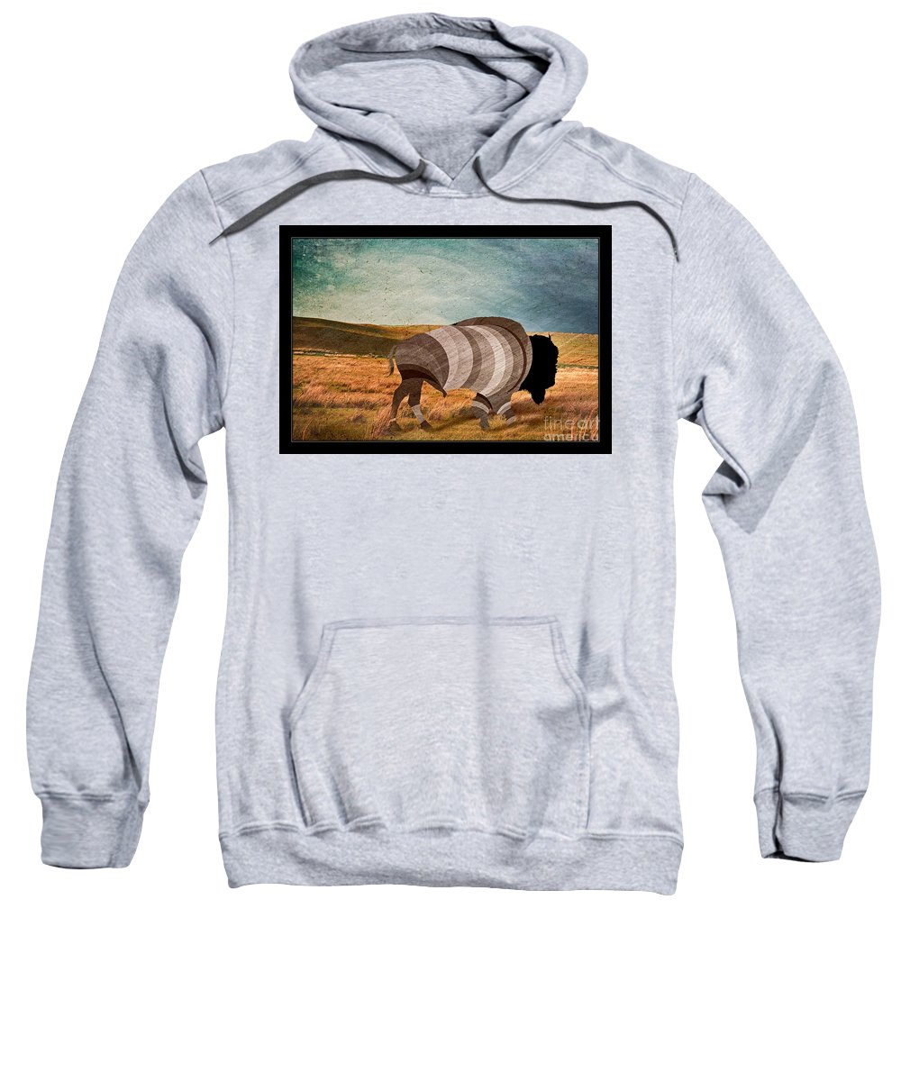 Bison Sweatshirt featuring the digital art Bison by Nick Eagles