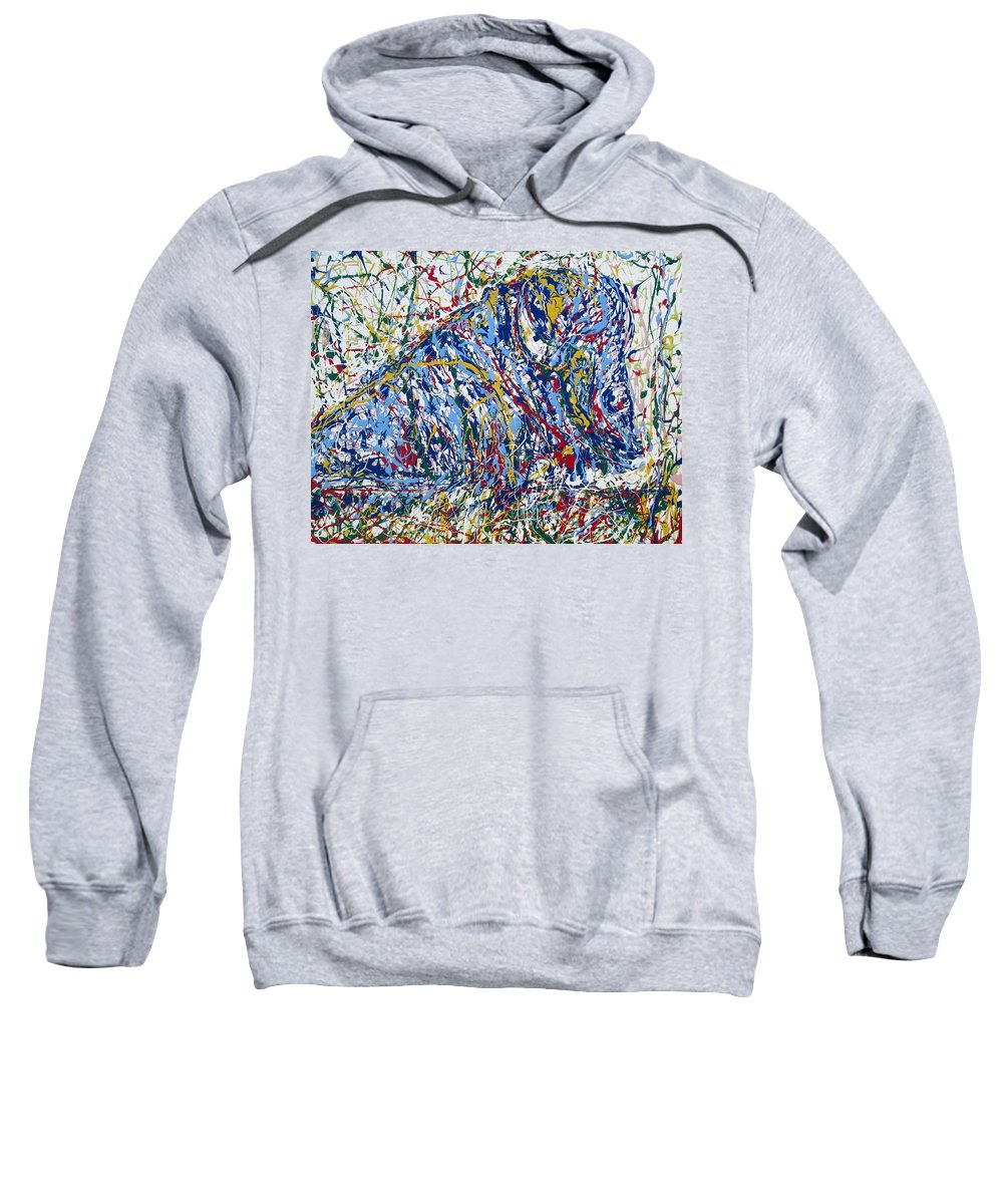 Bison Sweatshirt featuring the painting Bison Resting by Fabrizio Cassetta