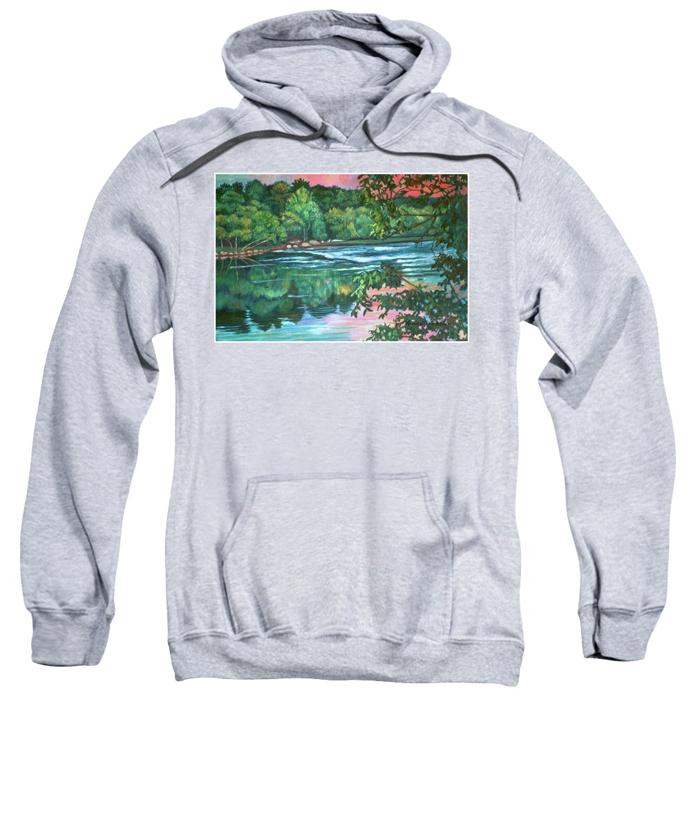 River Sweatshirt featuring the painting Bisset Park Rapids by Kendall Kessler