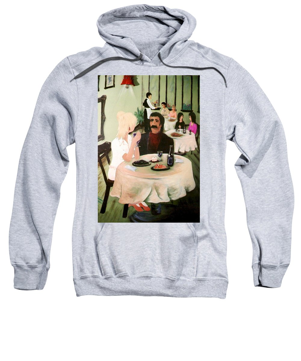 Mural Sweatshirt featuring the painting Bistro Mural Detail 1 by Rachel Christine Nowicki