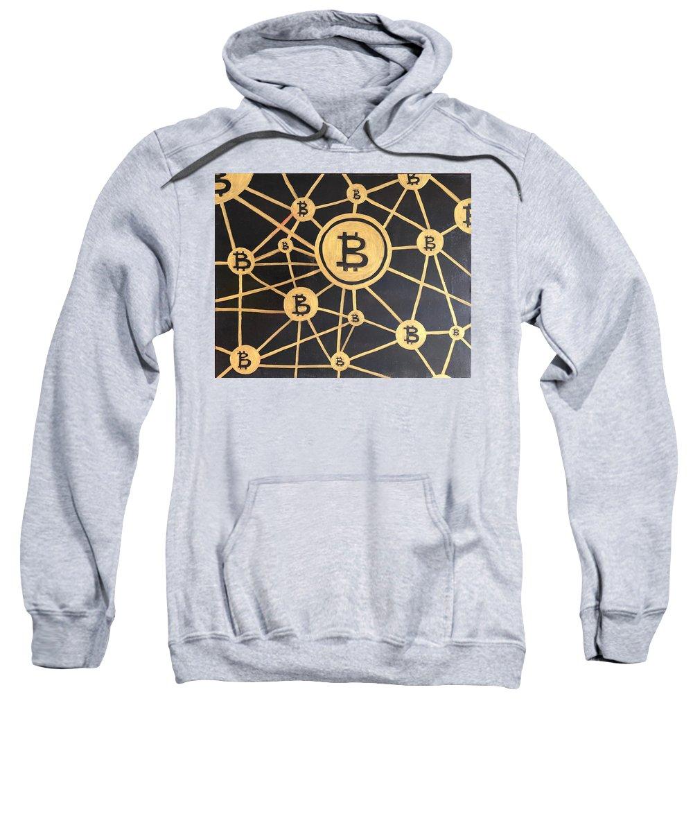 Virtual Money Sweatshirt featuring the painting Bitcoin by Alina Morozova