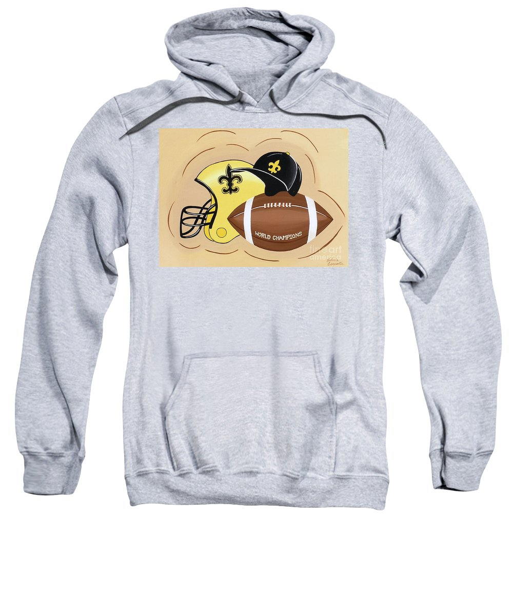 Football Sweatshirt featuring the painting Black And Gold Champs by Valerie Carpenter