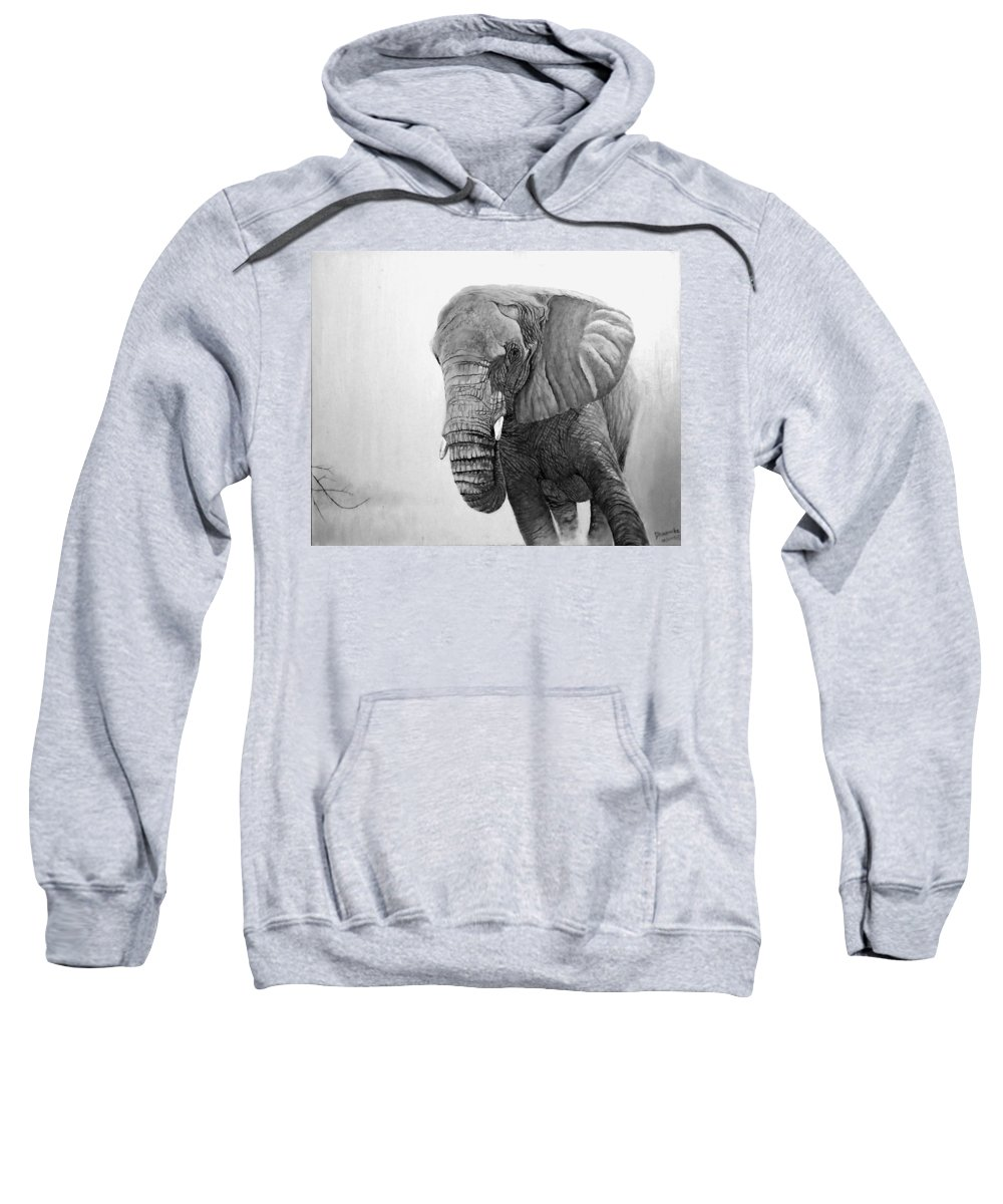 African Elephant Sweatshirt featuring the digital art Black And White by Dhammika Bandara