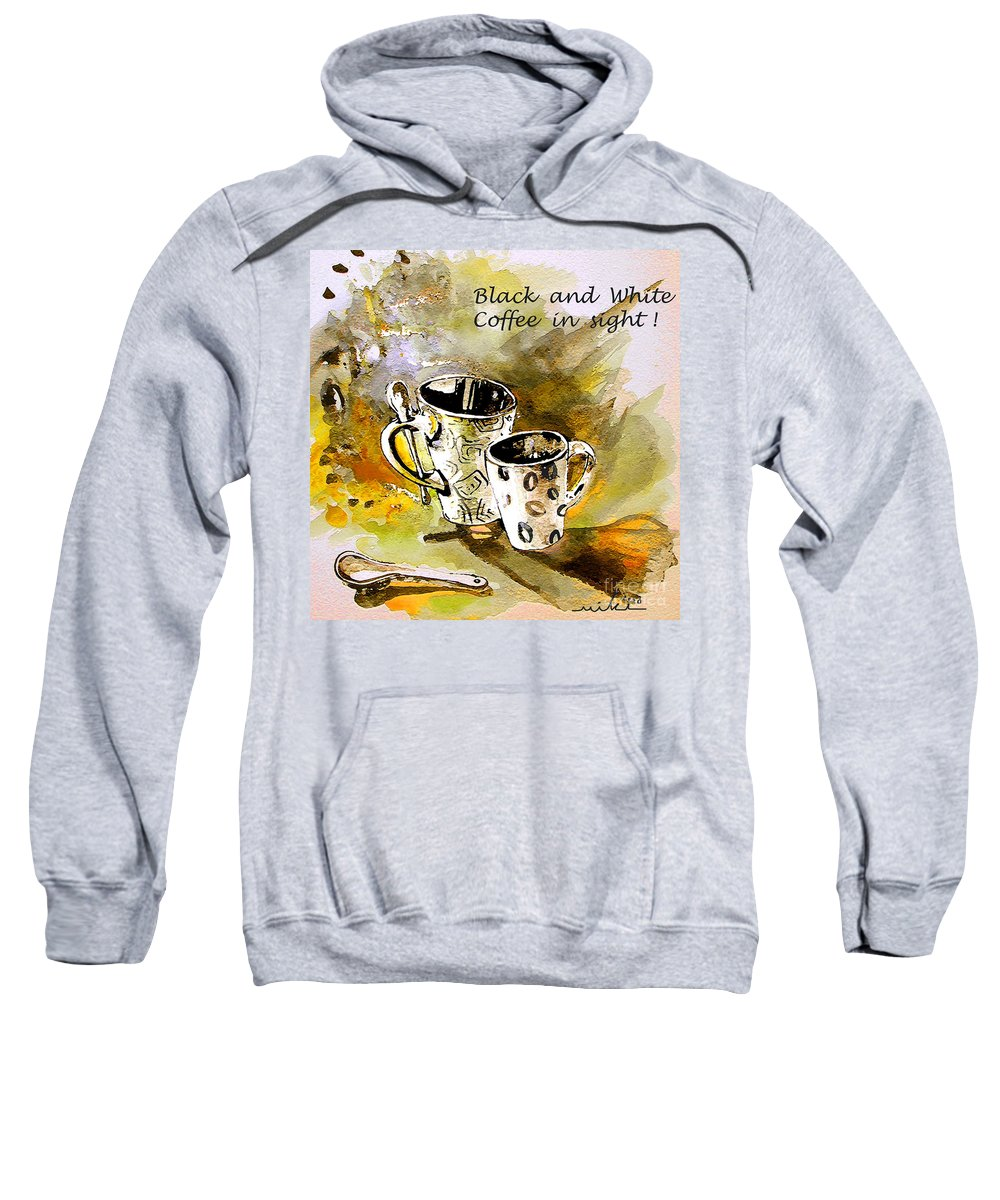 Cafe Crem Sweatshirt featuring the painting Black And White by Miki De Goodaboom