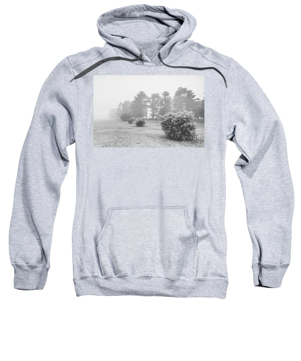 Snow Sweatshirt featuring the photograph Black And White Snow Landscape by Jorgo Photography - Wall Art Gallery