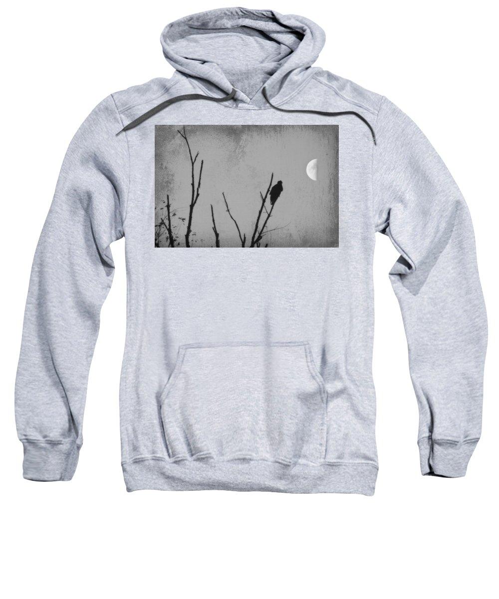 Black Sweatshirt featuring the photograph Black Buzzard Moon by Teresa Mucha