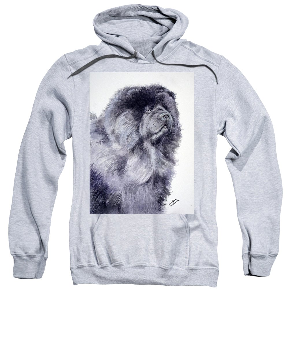 Dog Sweatshirt featuring the painting Black Chow Chow by Christopher Shellhammer