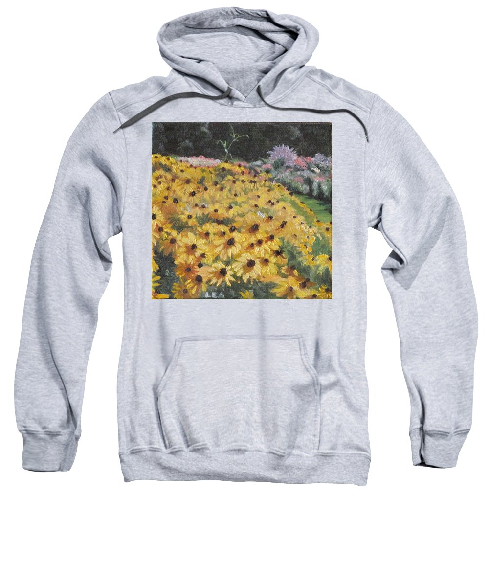 Floral Sweatshirt featuring the painting Black-eyed Susans by Lea Novak
