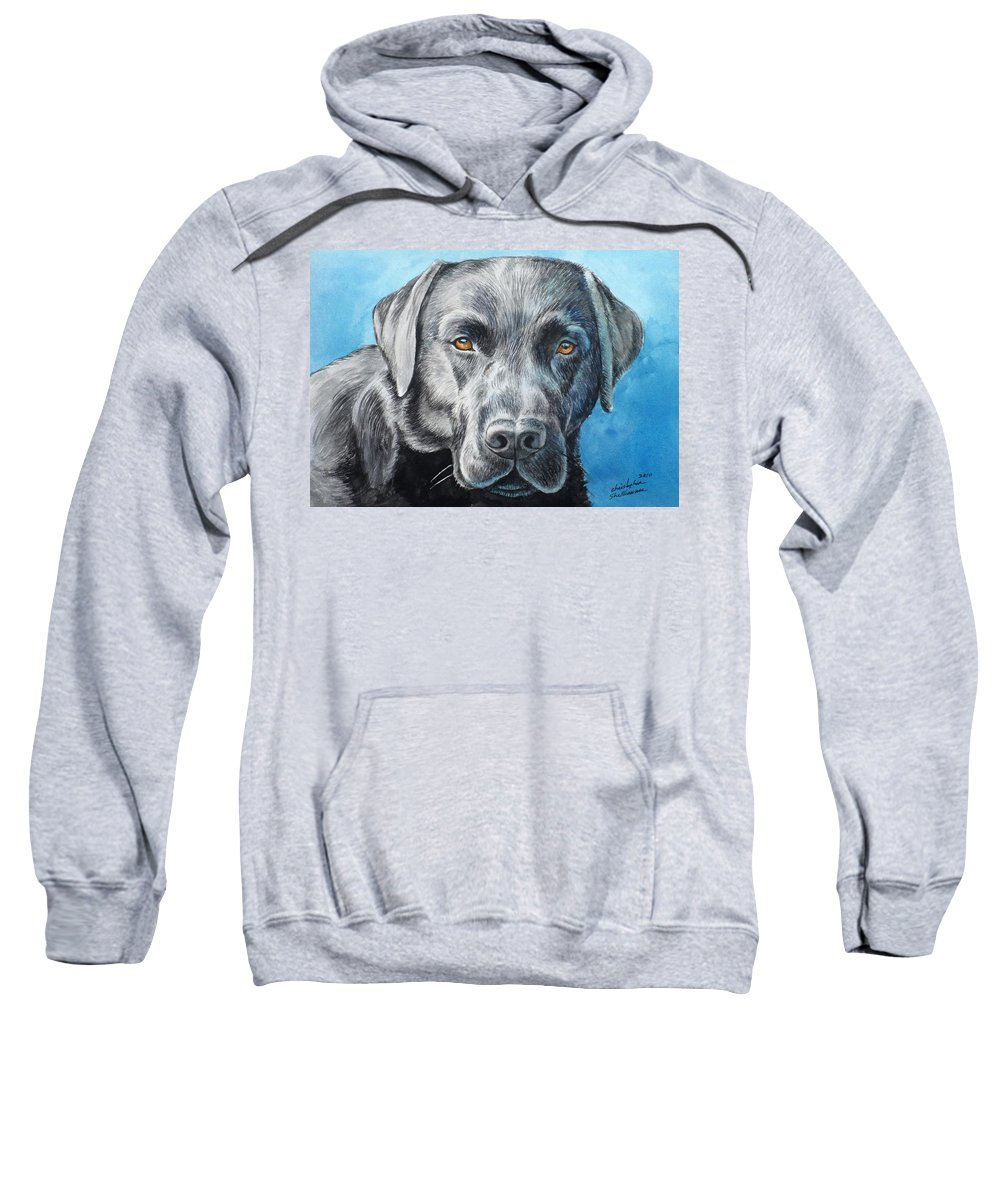 Dog Sweatshirt featuring the painting Black Lab by Christopher Shellhammer