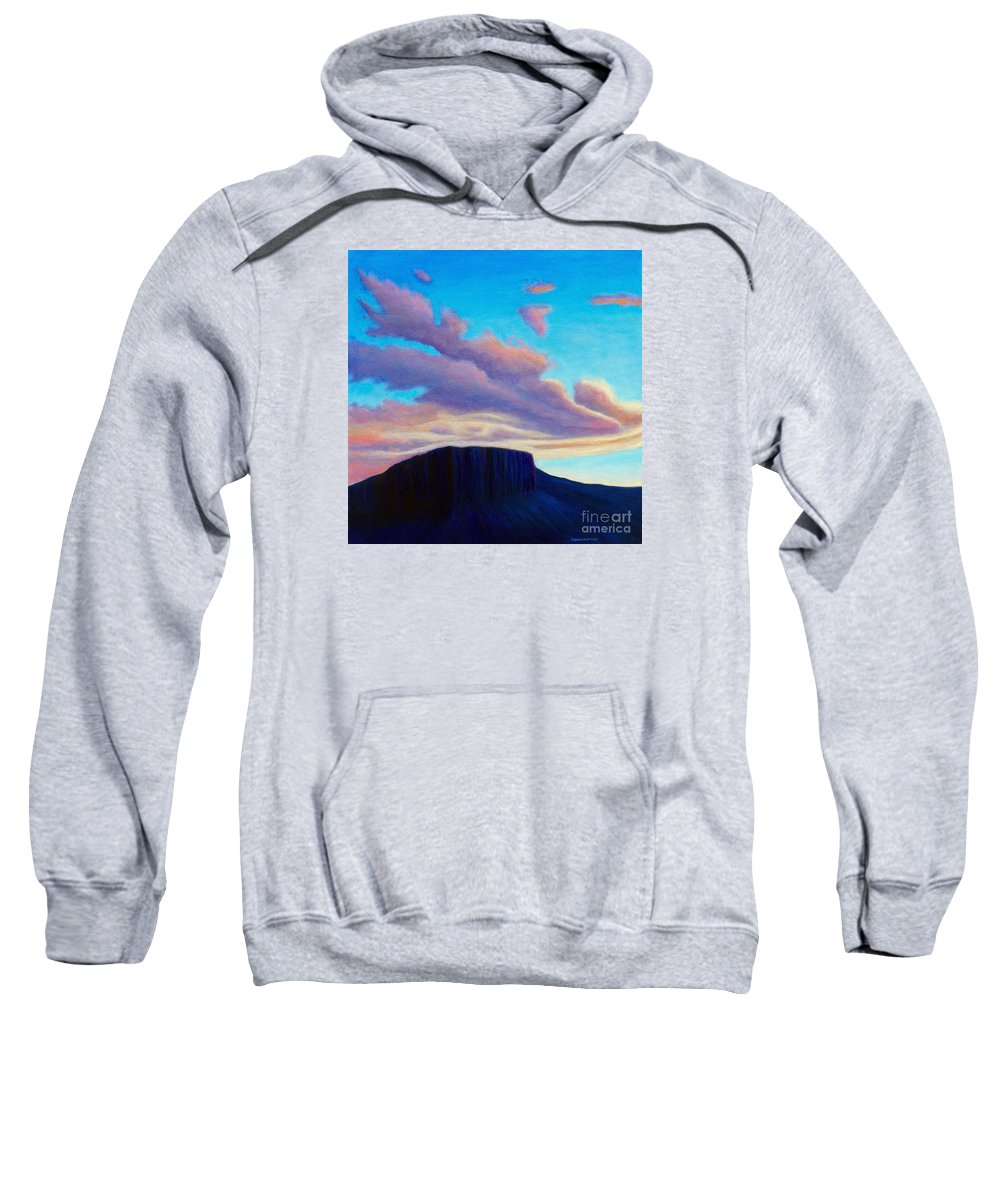 Landscape Sweatshirt featuring the painting Black Mesa Sunset by Brian Commerford