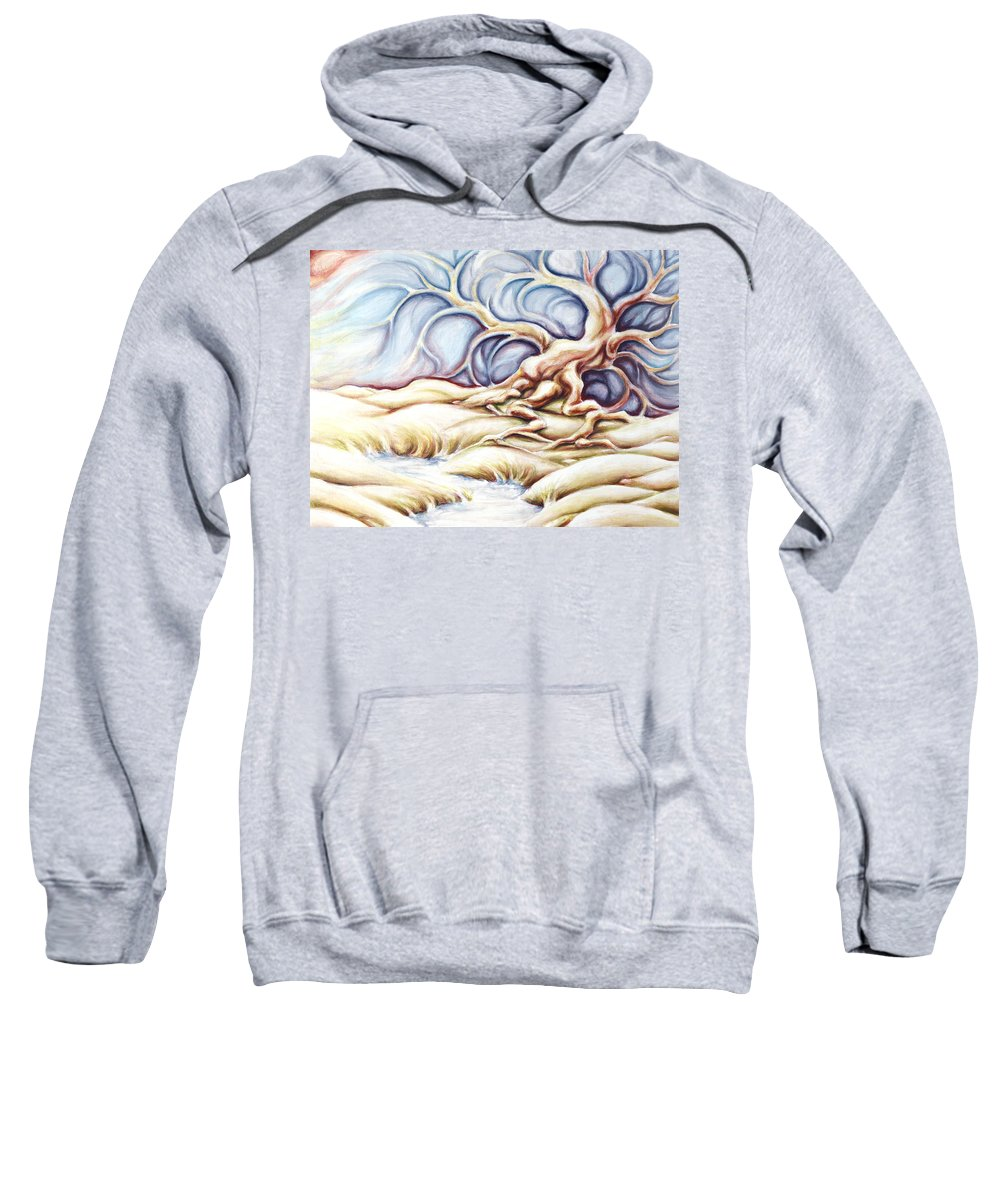 Acrylic Painting Sweatshirt featuring the painting Blonde And Blue by Jennifer McDuffie