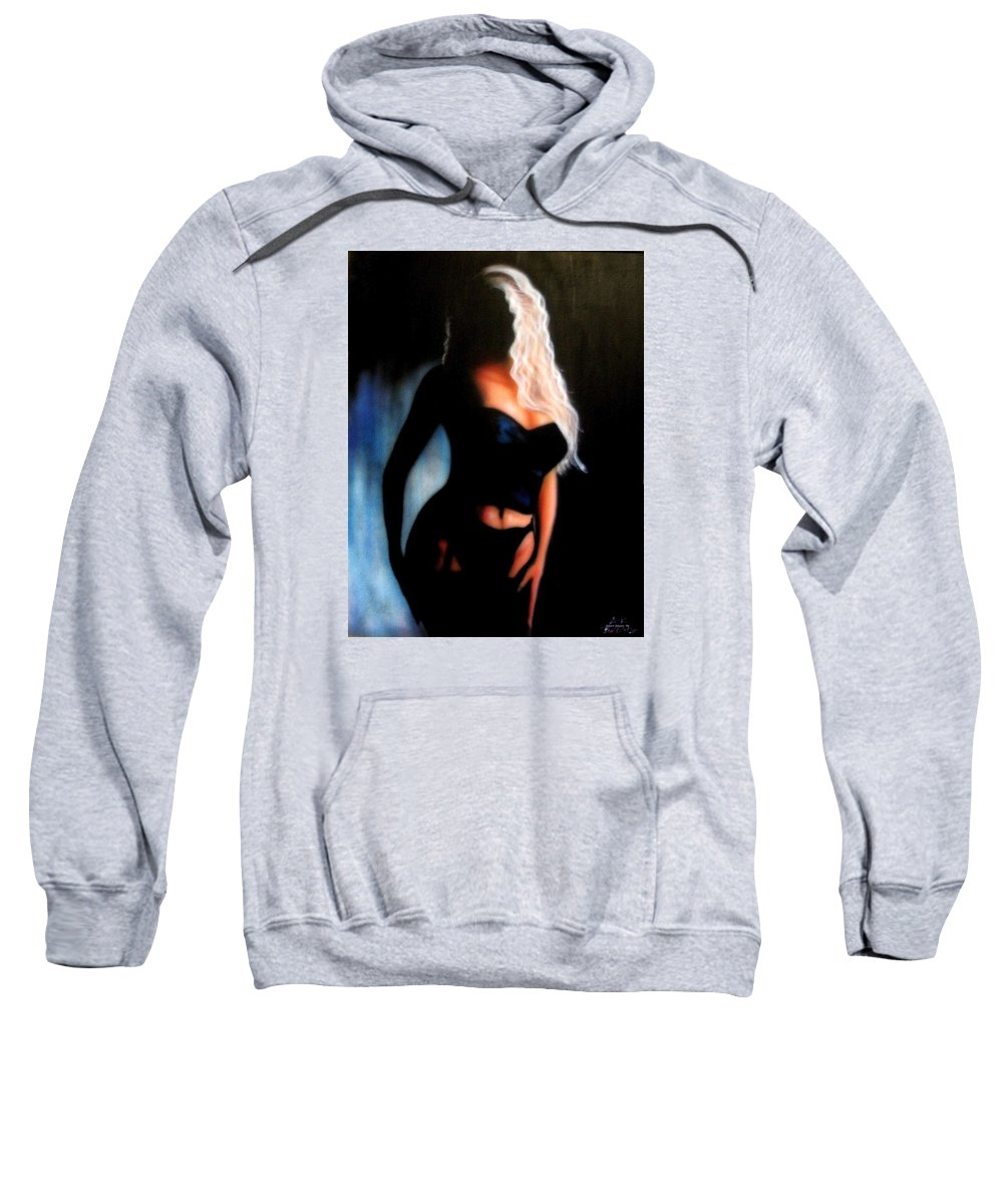 Blonde Sweatshirt featuring the painting Blonde Woman by Robert Salyers