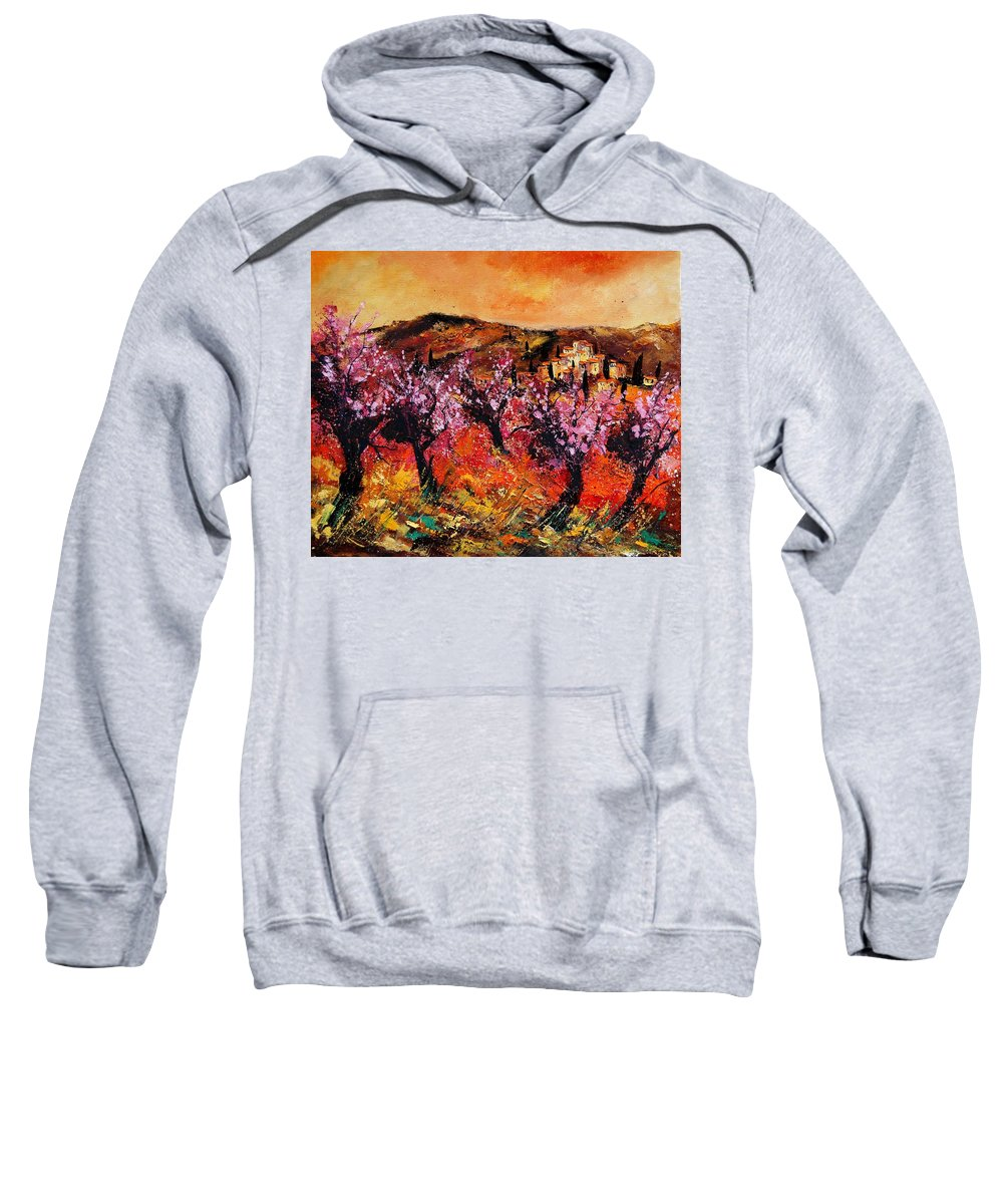 Provence Cherrytree Summer Spring Sweatshirt featuring the painting Blooming Cherry Trees by Pol Ledent