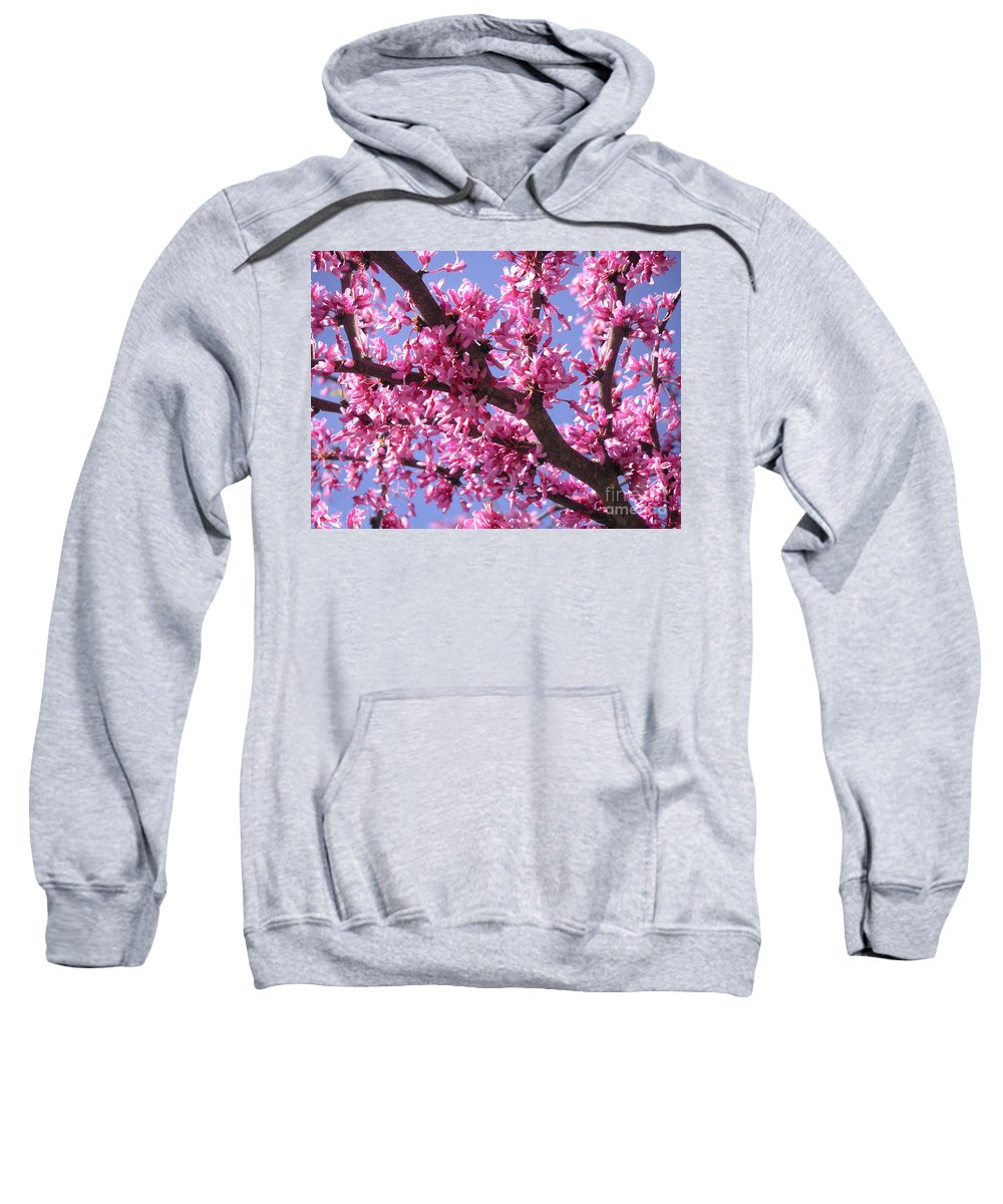Nature Sweatshirt featuring the photograph Blooming Red Buds by Lucyna A M Green