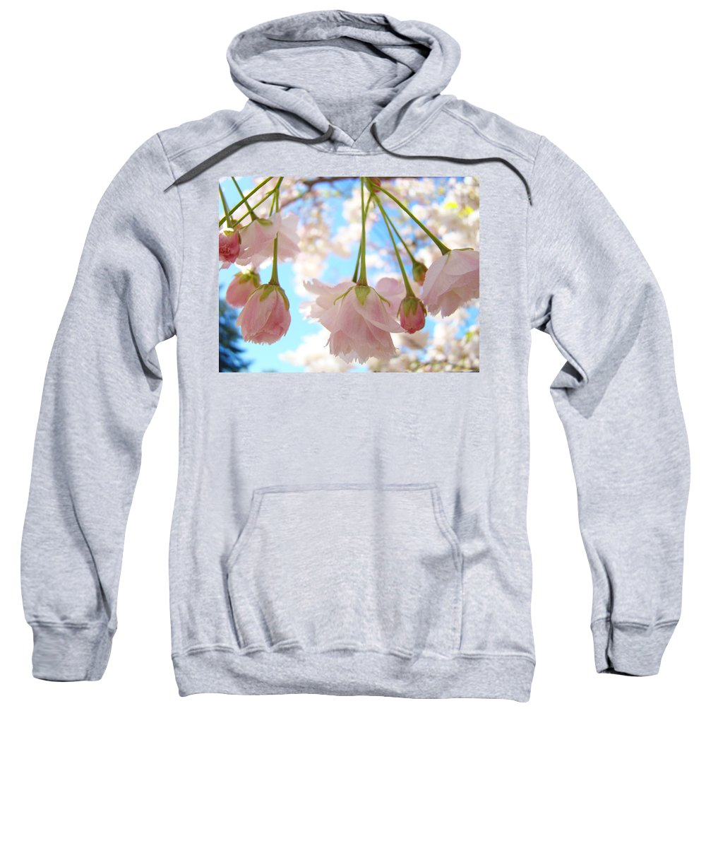 �blossoms Artwork� Sweatshirt featuring the photograph Blossoms Art Prints 52 Pink Tree Blossoms Nature Art Blue Sky by Baslee Troutman