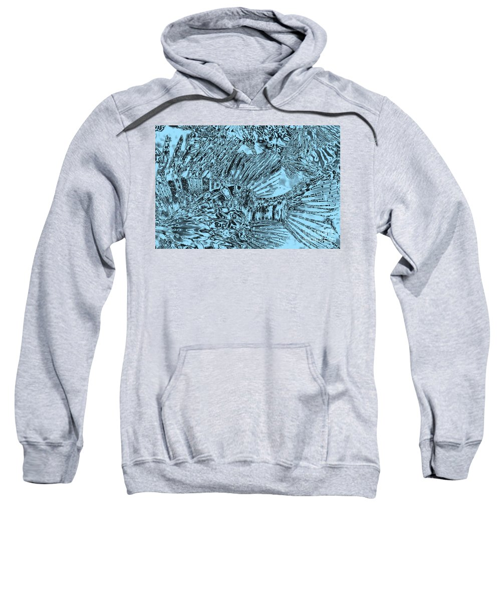 Abstract Art Sweatshirt featuring the photograph Blue Abstract - Lionfish by Carol Groenen
