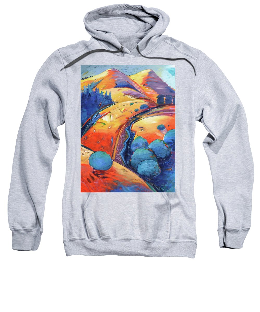 Hills Sweatshirt featuring the painting Blue And Gold by Gary Coleman