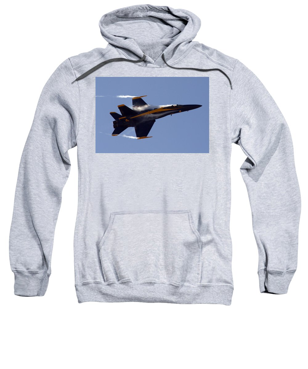 Jet Photos Sweatshirt featuring the photograph Blue Angel 4 Pulling A Vapor Trail Into The Empty Air... by Strato ThreeSIXTYFive