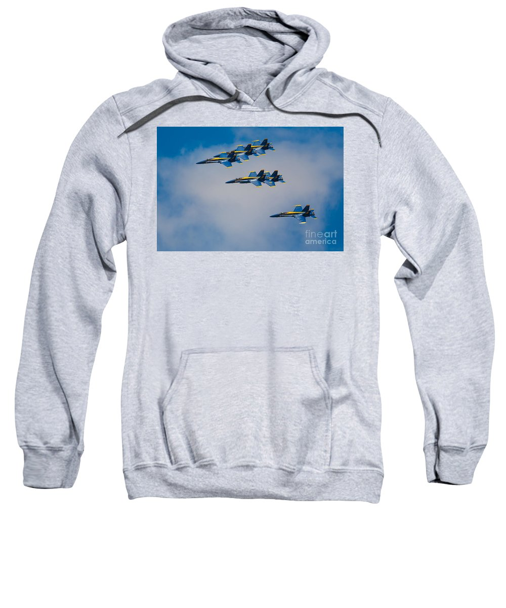 America Sweatshirt featuring the photograph Blue Angels by Inge Johnsson