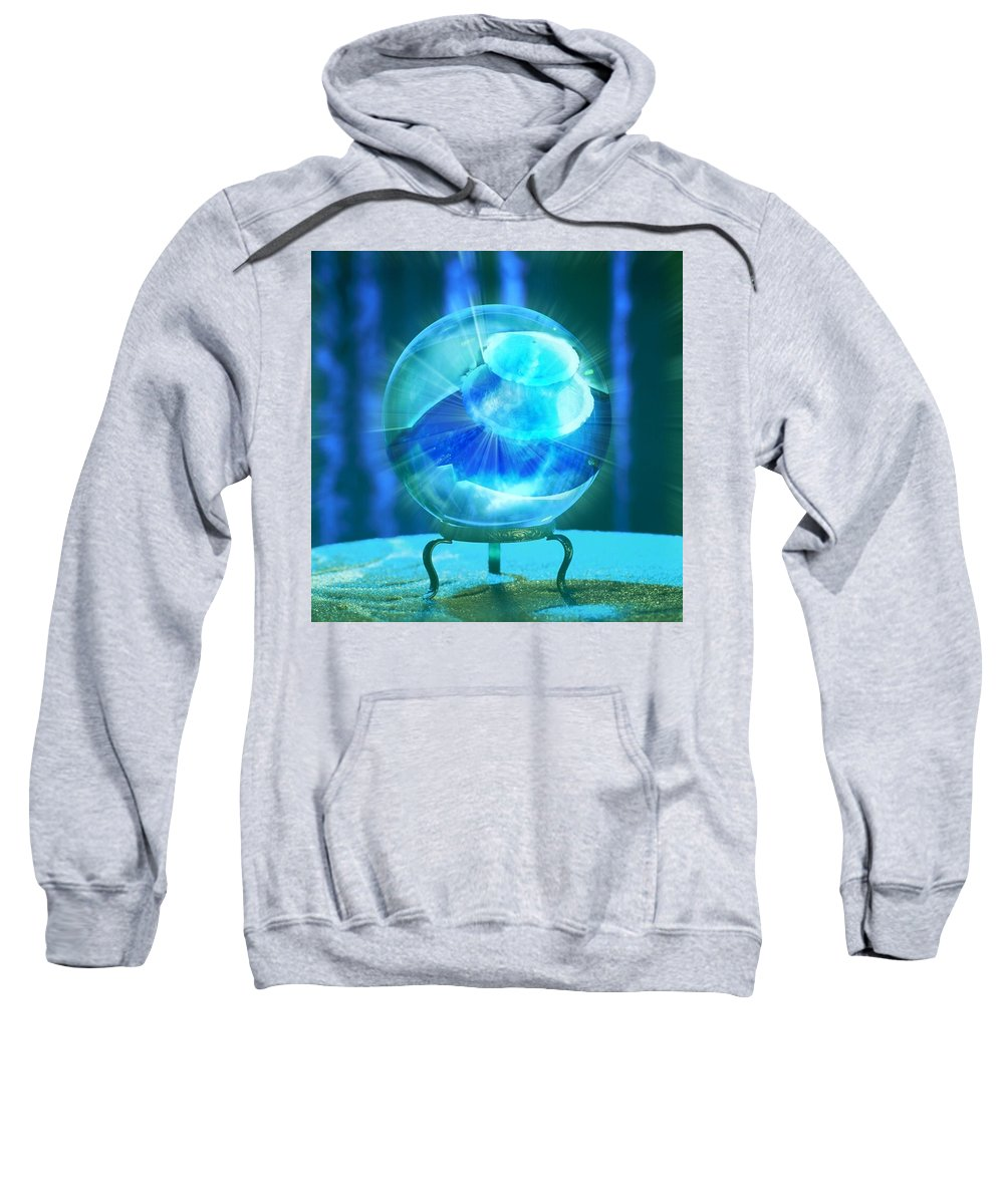 Crystal Ball Sweatshirt featuring the photograph Blue Ball by Rene GrayMitchell
