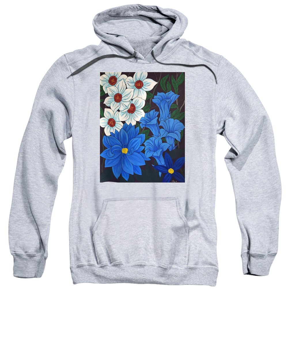 Painting Sweatshirt featuring the painting Blue Bell Flowers by Altin Rizi