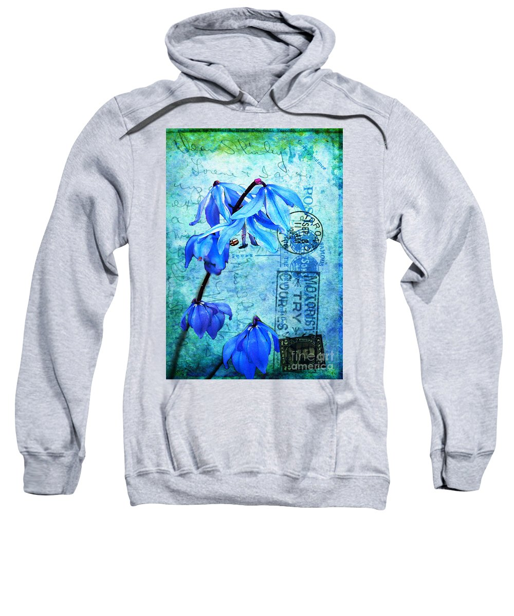Flowers Sweatshirt featuring the photograph Blue Bells On Vintage 1936 Postcard by Nina Silver