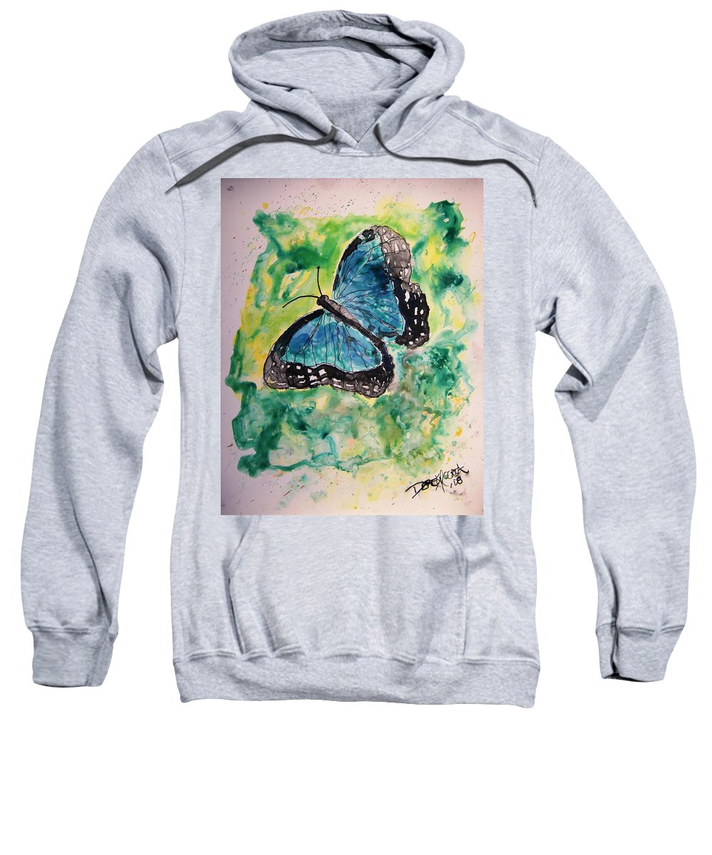 Wildlife Sweatshirt featuring the painting Blue Butterfly by Derek Mccrea