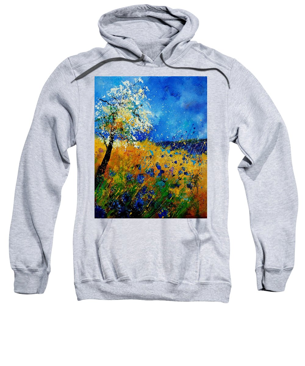 Poppies Sweatshirt featuring the painting Blue cornflowers 450108 by Pol Ledent